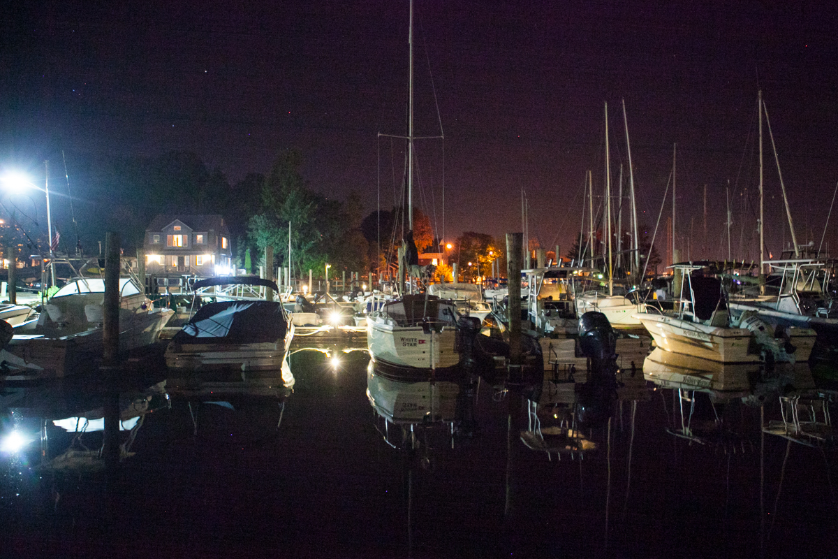 The marina at dark.