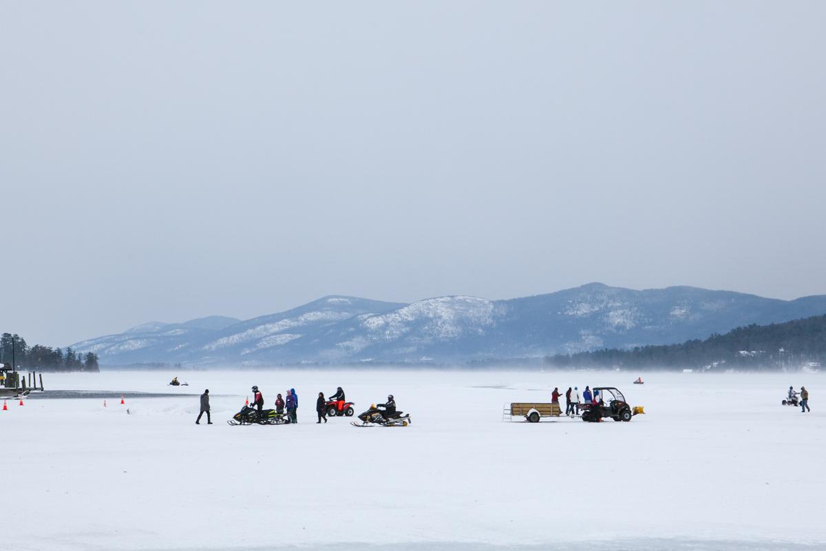 A frozen Lake George.